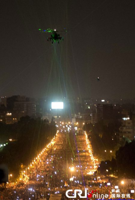 Demonstrators used laser pens to light military helicopters